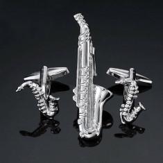 Butoni  si ac cravata tema muzica  saxofon argintii SAX MUSIC + ambalaj cadou, Inox