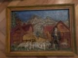 Tablou vechi francez,din compozit,cioban cu oi in basorelief