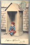 AX 48 CP VECHE INTERBELICA - UMORISTICA MILITARA -COPIL IN POST DE SANTINELA, Franta, Circulata, Printata