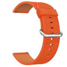 Curea piele, compatibila Huawei Watch GT, telescoape Quick Release, 18cm, Portocaliu