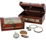 Cufar mic din lemn retro pentru bijuterii bratari pietre minerale, SAFE