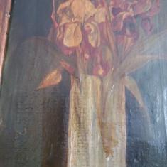 Tablou foarte vechi (1800) - semnat indescifrabil - Vaza cu flori (101)