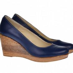 Pantofi dama casual din piele naturala cu platforma de 7 cm Mara - P3550BL