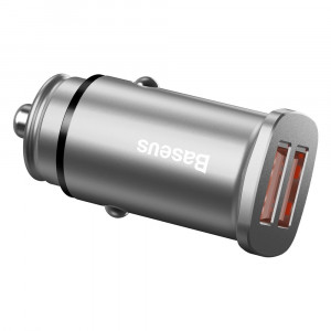 Incarcator auto Baseus Square cu functie QuickCharge 30 2USB Putere 30W Argintiu