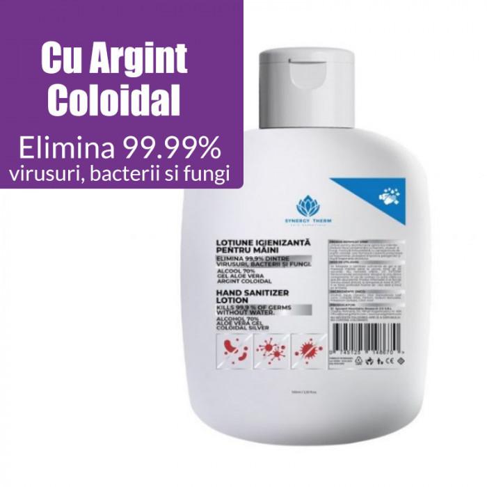 Lotiune igienizanta Synergy Therm 70% alcool, Aloe Vera, Argint Coloidal, 100 ml