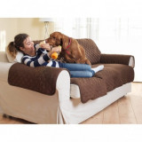 Husa de protectie pentru canapea, poliester, maro, 243 cm x 174 cm, ZN0005
