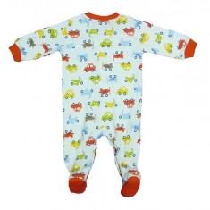 Salopeta / Pijama bebe cu masinute Z61, 1-2 ani, 1-3 luni, 12-18 luni, 3-6 luni, 6-9 luni, 9-12 luni, Alb