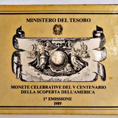 ITALIA SET 500 SI 200 LIRE 1989 ARGINT 500 ANI DESCOPERIREA AMERICII IN BLISTER