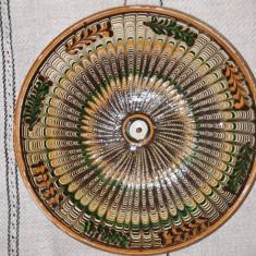 CERAMICA HOREZU - FARFURIE - SEMNATA D. MISCHIU - DIAMETRUL 21CM - INALTIM. 5 CM