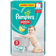 Scutece Pampers Active Baby Pants 3 Jumbo Pack, 60 bucati