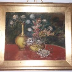 Tablou vechi - Vaze cu flori - Semnat indescifrabil (31)