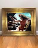 Nimfa II, Peisaj marin cu femeie nud, Tablou picta ulei, pictura inramata