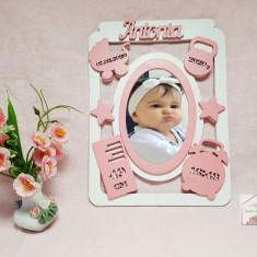 Rama foto personalizata cu datele copilului