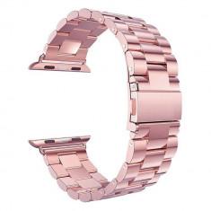 Curea compatibila Apple Watch, metalica, 42/44mm, roz