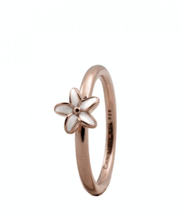 Inel Flower, Argint placat cu aur roze 18k, Email, Masura 55