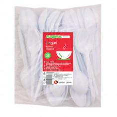 Linguri din Plastic de Unica Folosinta, 100 Buc/Set, 16.3 cm, Culoare Alba, Tacamuri de Unica Folosinta, Linguri Albe din Plastic, Linguri de Unica Fo