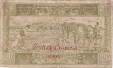 IUGOSLAVIA REGAT SERBIA CROATIA SLOVENIA 20 Dinara 1919 SUPRATIPAR 80 KRON F