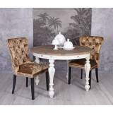 Scaun din lemn masiv natur cu tapiterie din catifea maro inchis SNA515, Scaune, Baroc