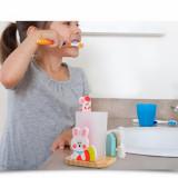 Suport periuta dinti din lemn cu clepsidra, pentru copii, roz