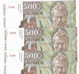SV * Romania   BNR   LOT  2 x SERII CONSECUTIVE  500 LEI 1991  IANAURIE      UNC