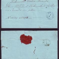 1862 Romania, Scrisoare veche BRAILA - BUZAU (1), stampila agrafa BUDEU, sigiliu