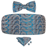 Set brau barbati, papion, batista sacou si butoni camasa, din matase naturala model paisley albastru Anthony Hopkins
