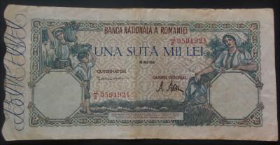 Bancnota 100000 lei - ROMANIA, anul 1946 / MAI   *cod 604 foto