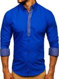 Cămașă elegantă cu mâneca lungă pentru bărbat albastră-aprins Bolf 3725