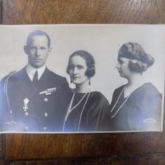 Printesa Elisabeta, Printul George al Greciei, Printesa Marioara, foto originala tip CP