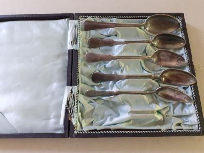 Lingurite vechi argintate CHRISTOFLE, in cutie foto