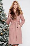 Palton LaDonna rosa elegant cu un croi drept din lana cu guler din blana naturala, Rose