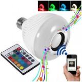 Bec bluetooth LED cu boxa, jocuri de lumini si telecomanda, E27