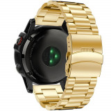 Curea ceas Smartwatch Garmin Fenix 3 / Fenix 5X, 26 mm Otel inoxidabil iUni Gold, Metal