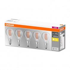 Set 5 becuri LED Osram 4W E14 P40 2700K lumina calda 470 lumeni A++
