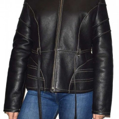 Cojoc dama, din piele naturala, marca Kurban, 20K-01-95, negru , marime: 3XL