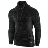 Pulover pentru barbati, negru, guler inalt, flex fit, casual - Alaska Snowboarder