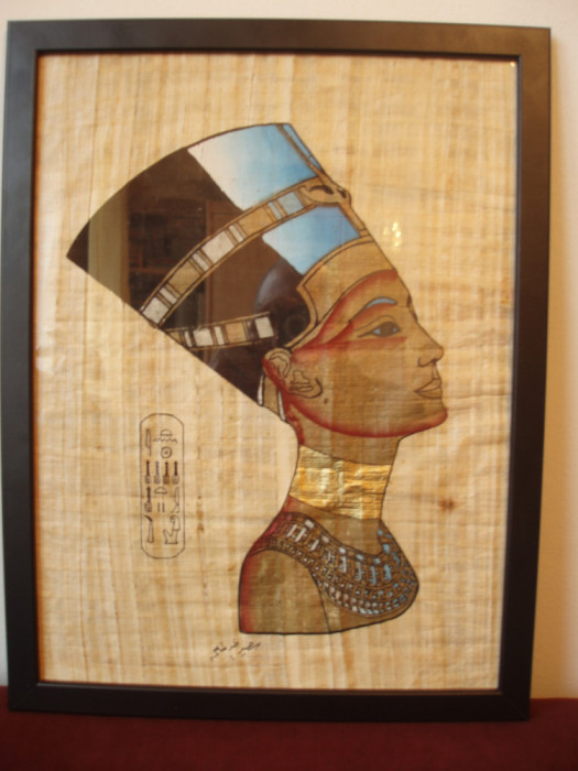 PAPIRUS EGIPTEAN - NEFERTITI , IN RAMA DE LEMN TIP IKEA