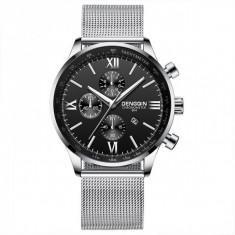 Cumpara ieftin Ceas pentru barbati, casual DengQin CS1095, model argintiu, cadranul negru