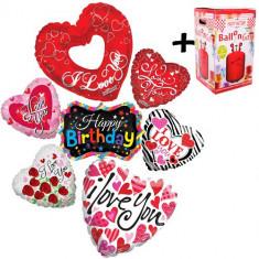 """Pachet baloane """"I love You"""" 7 folii inima + 1 butelie heliu - 2018138"""