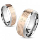 Verighetă din oțel în culori argintii și aurii, rugăciunea Tatăl Nostru, 6 mm - Marime inel: 57