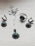 Set bijuterii argint 925 - turcoaz - turcoaze - cercei - inel - lantisor
