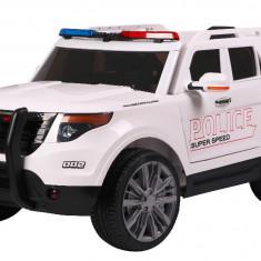 Masinuta electrica SUV de Politie cu sirena, girofar si megafon, alb