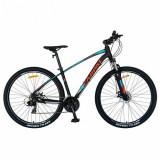 Cumpara ieftin Bicicleta MTB-HT CARPAT C2757C, roti 27.5inch, cadru aluminiu, frane mecanice disc, 24 viteze (Negru/Albastru)