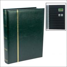 Clasor timbre cu 32 file / 64 pagini negre - VERDE - Coperta este Captusita