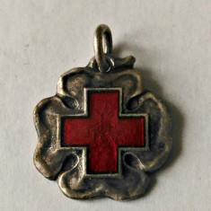 MEDICINA MARTISOR ARGINT NEMARCAT CRUCEA ROSIE PERIOADA REGALISTA 15,80/14,50 MM, Romania 1900 - 1950