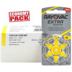 Baterii Rayovac 10 pentru aparate auditive Economy Pack 60 baterii