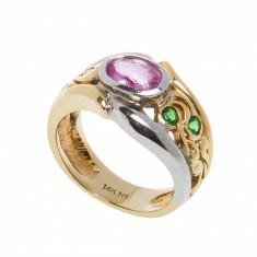 Inel din aur 14K cu safir roz, turmalin si cromdiopsid, circumferinta 51 mm