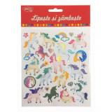 Abtibilduri DACO Lipeste si Zambeste, Model Unicorni, Multicolor, 27 Buc/Set, Autocolante Copii, Stickere Decorative, Stickere pentru Copii, Abtibildu