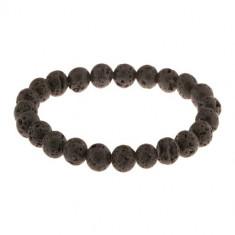 Brăţară - mărgele mate, rotunde realizate din lavă de culoare neagră, şnur elastic transparent