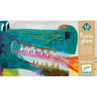 Puzzle gigant pentru copii, Dragon, 58 de piese, Djeco foto